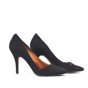 Madewell | Mira black suede leather pumps